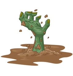 Cartoon zombie hand out of the ground vector image