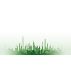 Cityscape with fade green vector