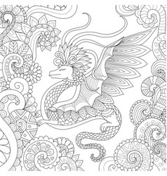 Abstract pretty dragon flying in floral forest vector