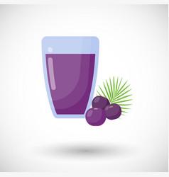 Acai berries juice flat icon vector