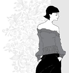 Artistic sketch of a model wearing grey sweater vector
