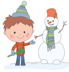 boy and snowman vector image vector image