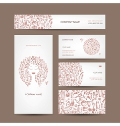 Business cards design cosmetics and accessories vector