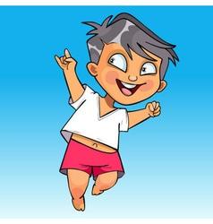 cartoon happy baby jumping fun vector image