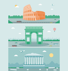 Cities skylines design with landmarks rome paris vector