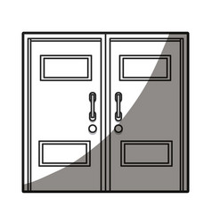 Closed two door handle line shadow vector