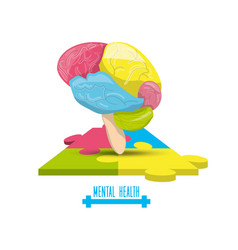Color brain with puzzle mental game vector