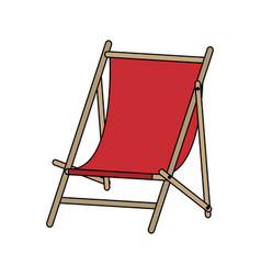 color image cartoon wooden chair for beach vector image
