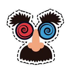 Crazy googly eyes with nose and mustache toy vector