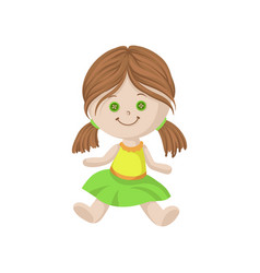 cute soft doll with brown hair and button eyes vector image vector image