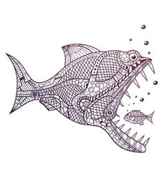 Deep water predator attacking little fish vector