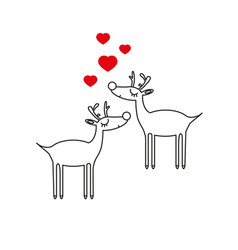 deer with love icon vector image