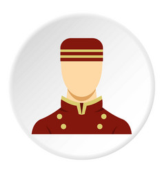 doorman in red uniform icon circle vector image