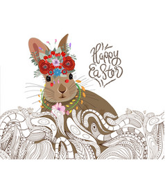 Easter rabbit doodle floral ornament background vector