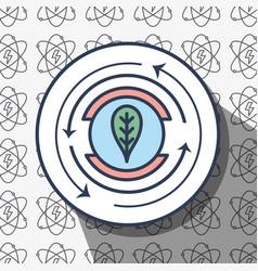 Emblem leaf symbol with energy background to vector