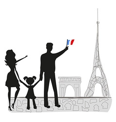 Family in paris vector