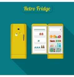 Fridge closed and open vector image
