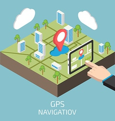 Gps isometric with hand and tablet vector