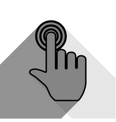 hand click on button black icon with two vector image