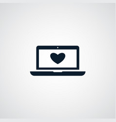 Heart on laptop icon simple love valentine sign vector