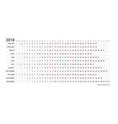 linear calendar 2018 clear horizontal design vector image