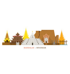 Mandalay myanmar architecture landmarks skyline vector