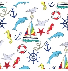 Nautical seamless pattern with ships vector image vector image