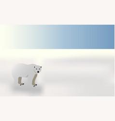 polar bear in winter landscape vector image vector image