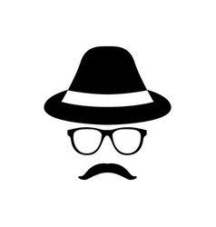 retro gentleman icon with glasses hat and vector image