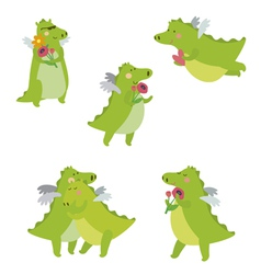 Romantic with dinosaur cartoon set vector