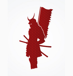 Samurai warrior standing with flag katana sword vector