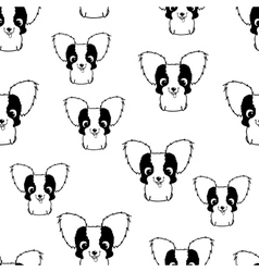 Seamless pattern with papillon puppies Black and vector image