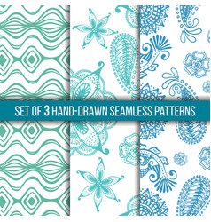 Set of 3 hand-drawn seamless patterns vector