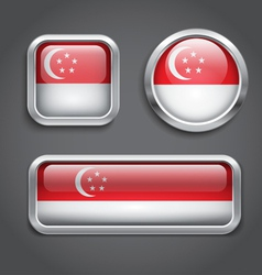 Singapore flag glass buttons vector image