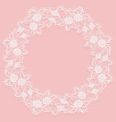 template with white lace frame for card or vector image