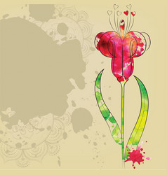The outline of the flower vector