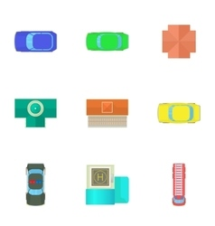 Top view of cars icons set cartoon style vector