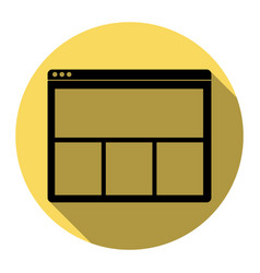 web window sign flat black icon with flat vector image