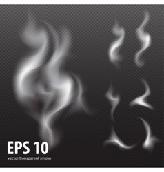 White smoke on transparent black background set vector