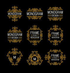 Wonderful set style art nouveau elegant line art vector