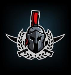 wreath swords and helmet of the spartan warrior vector image