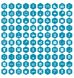100 learning kids icons sapphirine violet vector image