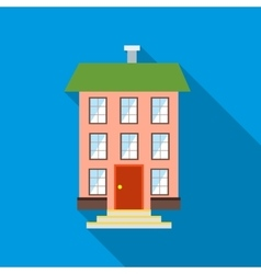Three-story house icon flat style vector