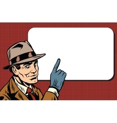 Male spy points a finger retro background vector