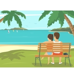 Honeymoon couple outdoors in the beach vector