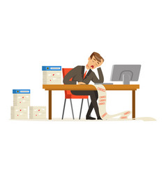 Businessman working with computer stressed out by vector