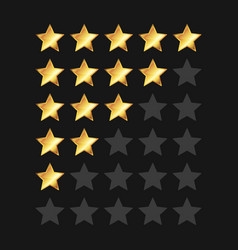 Golden stars rating panel set vector