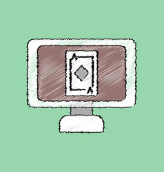 flat shading style icon ace of diamonds screen vector image