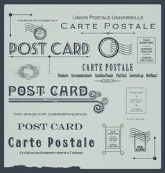 Postcard backside design elements collection vector