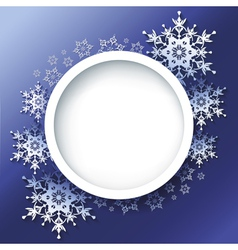 Winter background frame with 3d ornate snowflakes vector